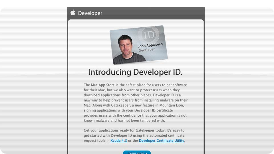 Click here to read Apple Developer IDs Bring Us One Brick Closer to an OS X Walled Garden